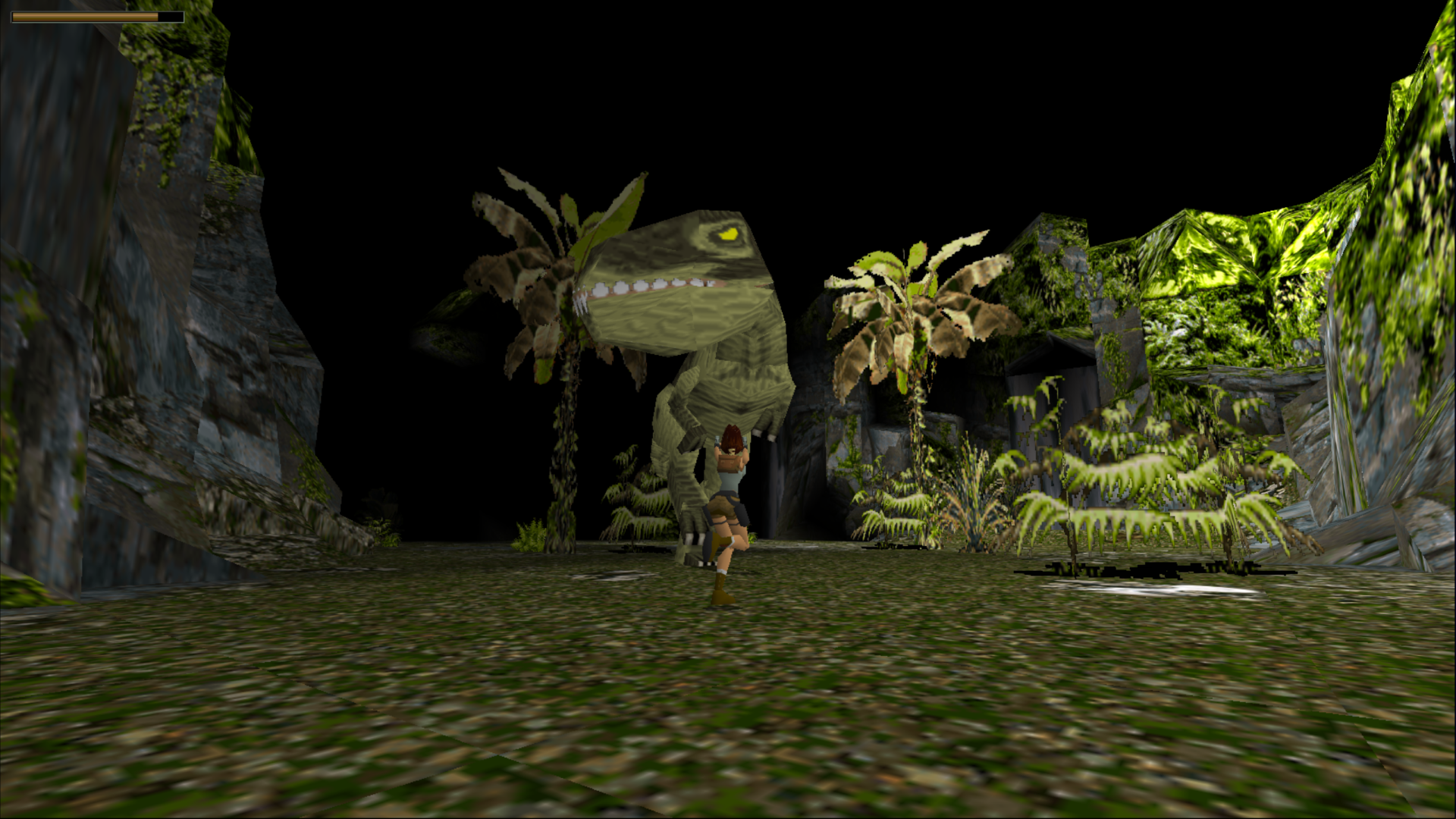 Lara facing the infamous T-Rex in the very first Tomb Raider game