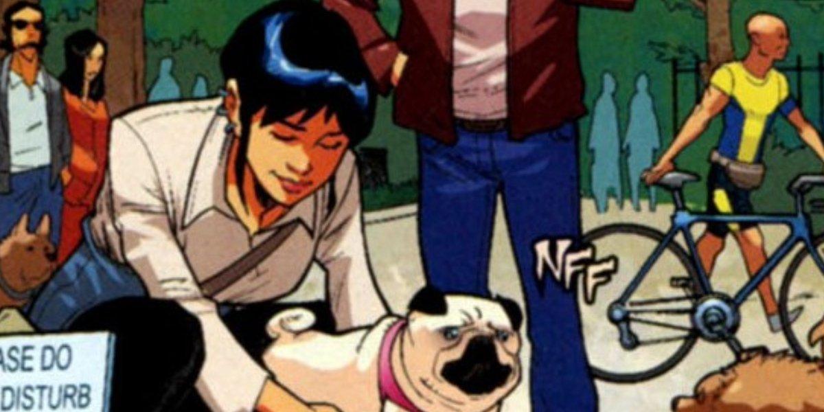 Sofia Sanduval speaks to a dog