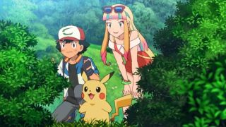 Ash ketchum, Pikachu, and Risa stand between some lush bushes