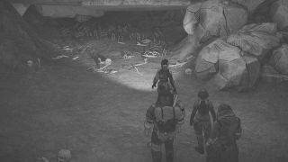 A greyscale skeleton cave