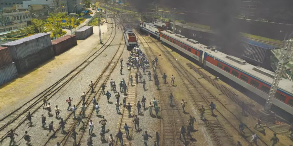 A horde of zombies in Train To Busan