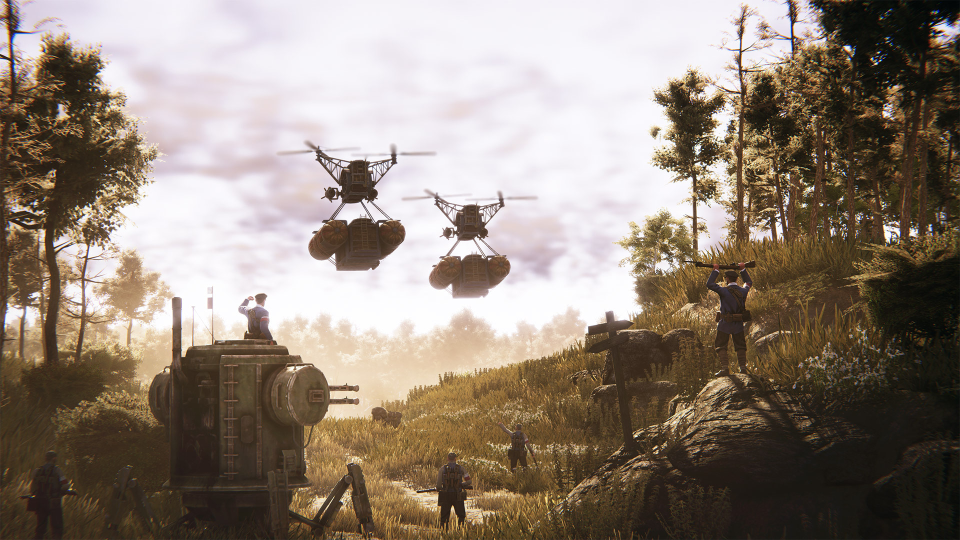 American airships battle mechs in the Iron Harvest DLC Operation Eagle