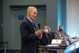 NASA Administrator Bill Nelson spoke at the beginning of a flight readiness review for OFT-2 held on July 22, 2021.
