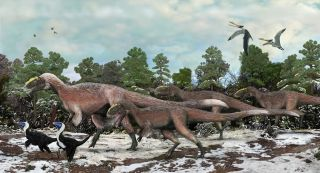 Artist's impression of a group of <i>Yutyrannus</i> and two individuals of the smaller <i>Beipiaosaurus</i>.