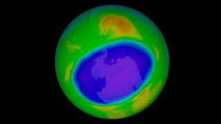 The Antarctic ozone hole reached its most recent annual peak extent on Sept. 20, 2020, at 9.6 million square miles (24.8 million square kilometers). It was the 12th-largest ozone hole on record, down from the highs of decades past..
