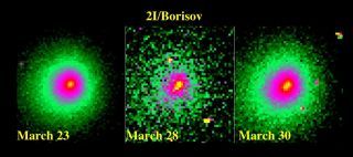 Imagery of interstellar Comet Borisov captured by the Hubble Space Telescope suggests that a piece broke off the object's nucleus between March 23 and March 28, 2020. (The middle photo was taken with a different filter than the two on the sides, explaining its different appearance.)