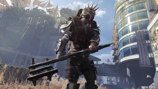 A rogue human in Dying Light 2, wielding a makeshift axe