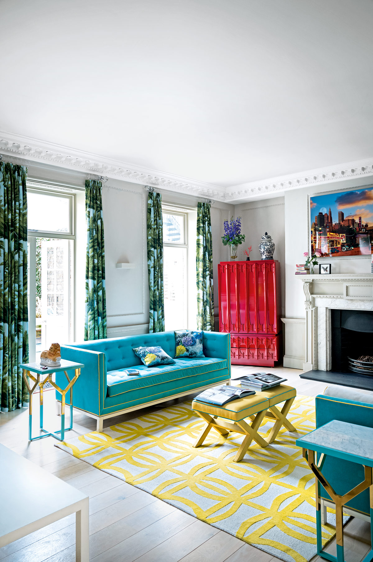 Get the look Curtains made from Pierre Frey\u0027s playful Mauritius linen fabric £230.40m. This is Jonathan Adler\u0027s L&ert sofa £3595. & 8 Modern Living Room Ideas | Livingetc