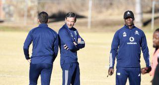 Fadlu Davids, Josef Zinnbauer and Mandla Ncikazi Of Orlando Pirates