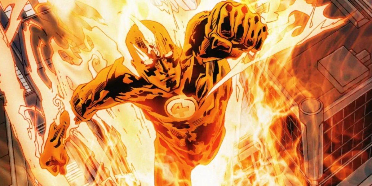 the human torch fantastic four comic art