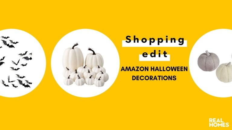 Amazon Halloween decorations graphic in yellow with white pumpkins, bat wall stickers and felt pumpkins