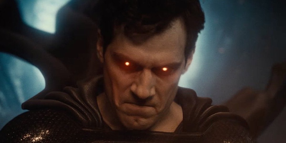 Zack Snyder's Justice League Superman angrily charging up his laser eyes