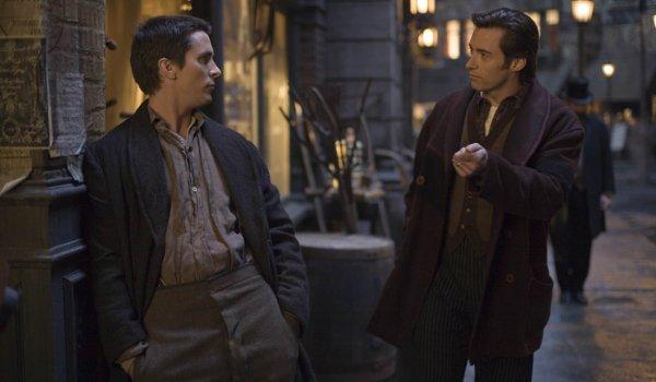 The Prestige Christian Bale Hugh Jackman meet up on the streets of London