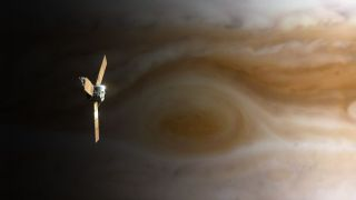 Juno spacecraft over Jupiter's great red spot. Jupiter is a gas giant, but could a spacecraft pass through a gas planet?