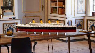 Lego Titanic on a table