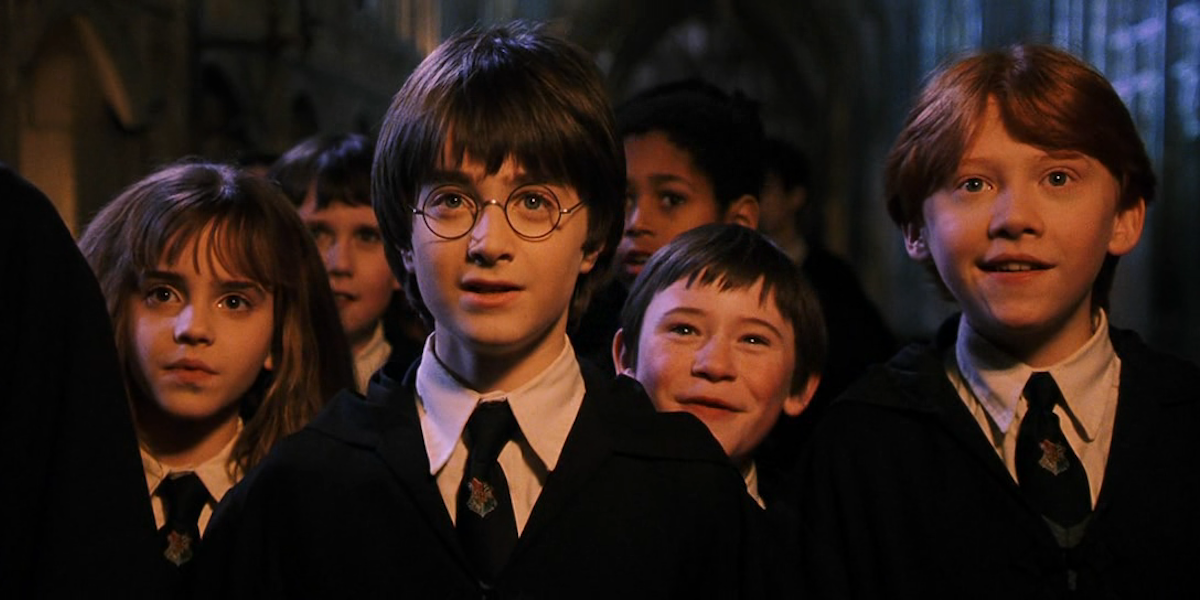 Emma Watson, Daniel Radcliffe and Rupert Grint in Harry Potter and the Sorcerer's Stone