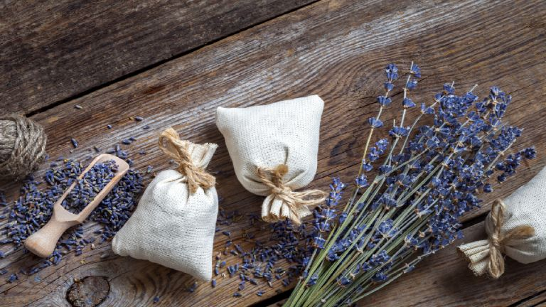 Lavender pillows next to springs of lavender on a wooden table
