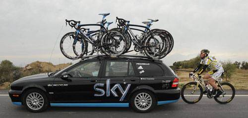Mark Cavendish and Sky team car, Tour of Catalonia 2010, stage four