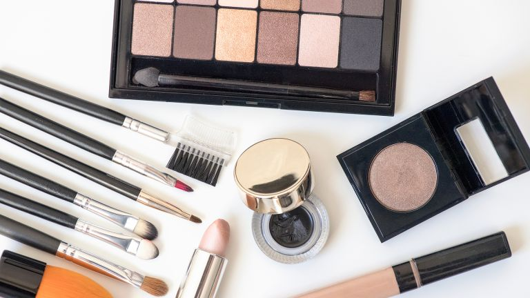 flatlay of various makeup products