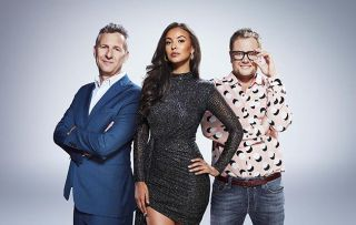 Stand Up to Cancer shows L - R Adam Hills, Maya Jama and Alan Carr 2018