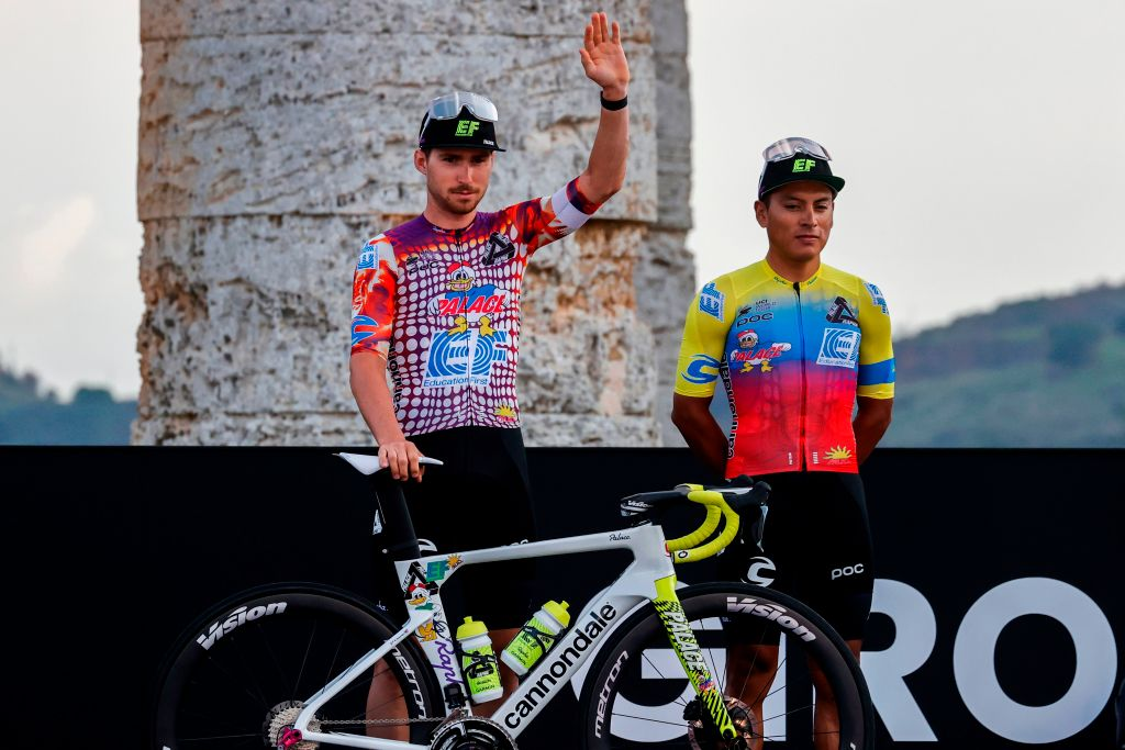 in the new EF Pro Cycling kit at the Giro d'Italia presentation in Sicily