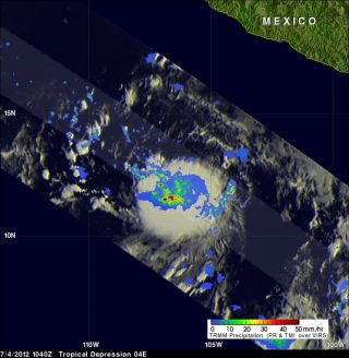 Tropical Storm Daniel's rainfall captured by NASA's TRMM satellite.