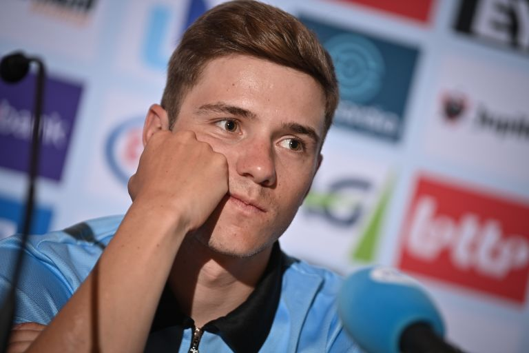 Remco Evenepoel at a pre-race press conference in Flanders 2021 World Championships