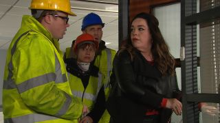 Vinny, Lydia and Sam catch Mandy trying to break into the office in Emmerdale
