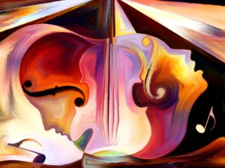 Interplay of colorful human and musical shapes