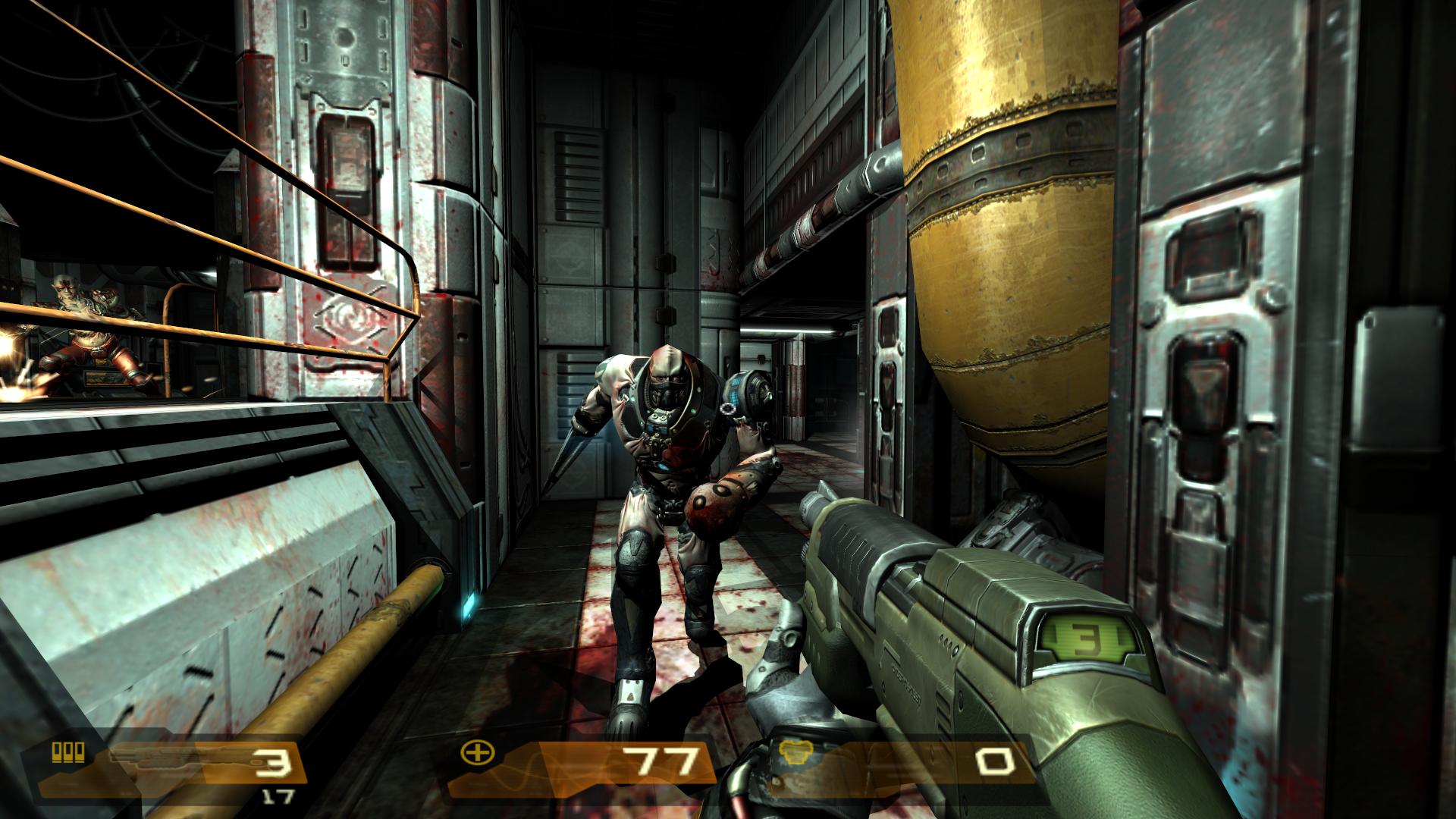 Wielding a shotgun, the player is charged by a 'Berserker' Strogg.