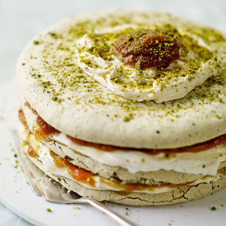 Pistachio Meringue and Apricot Layer Cake recipe-recipe ideas-new recipes-woman and home