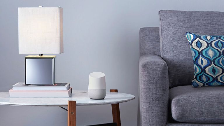 Smart assistants: Google Assistant lifestyle image in living room on side table