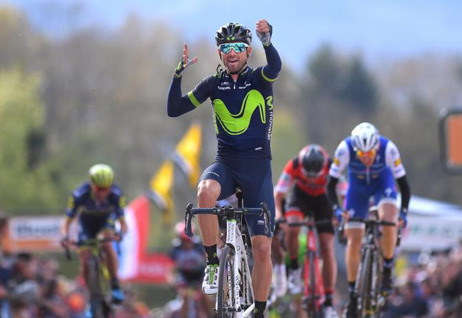 Alejandro Valverde (Movistar) celebrates winning the 2017 Fleche Wallonne