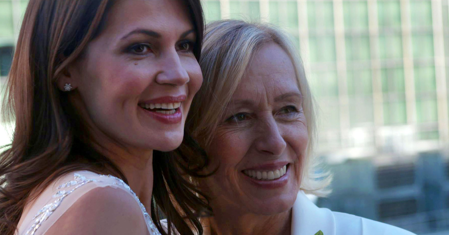 Martina Navratilova and Julia Lemigrova at their New York wedding in 2014