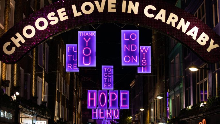 Carnaby Street's 2020 pink light up installation