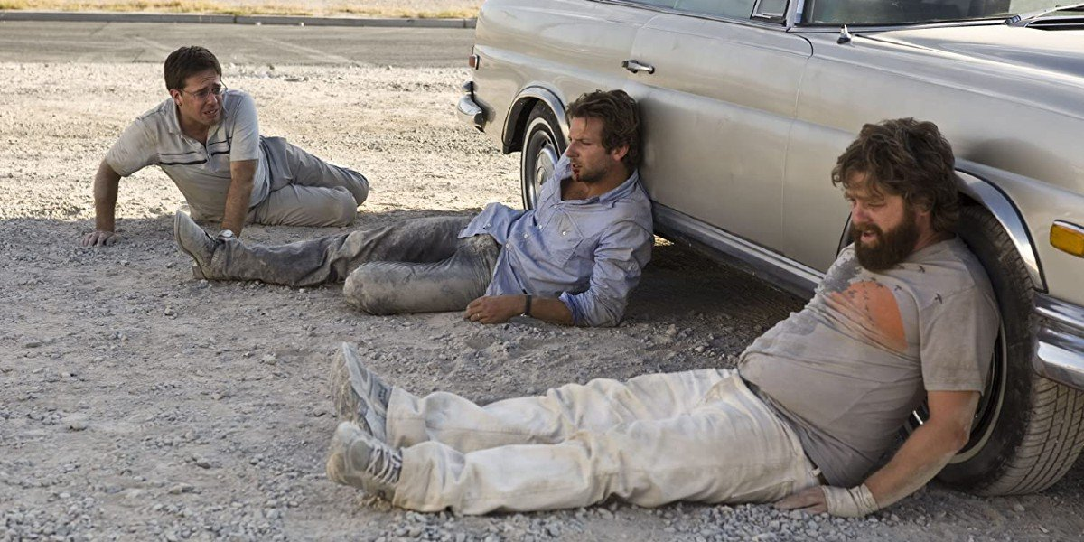 Ed Helms, Bradley Cooper, and Zach Galifianakis in The Hangover