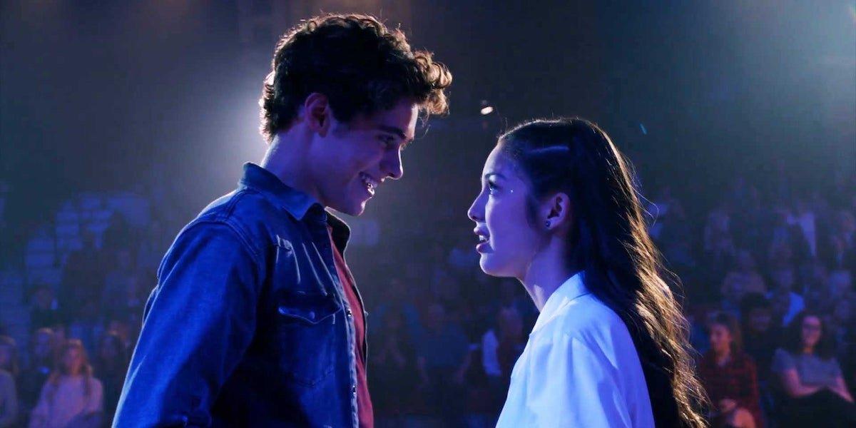 Joshua Bassett and Olivia Rodrigo during the finale of High School Musical the series Season 1