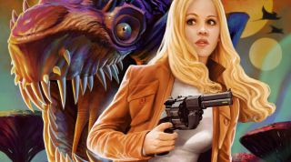 Halcyon Helen, the heroine of an adventure serial in The Outer Worlds, is menaced by an alien monster