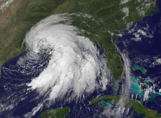 Tropical Storm Lee is shown as it appeared on Sept. 3, 2011 by NOAA's GOES-13 satellite.