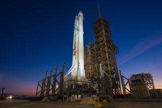 A SpaceX Falcon 9 rocket and Dragon cargo ship stand atop NASA's Launch Pad 39A for a Feb. 18, 2017 launch. It will be SpaceX's first launch from the historic NASA pad, which saw launches for Apollo moon missions, Skylab and the space shuttle program.