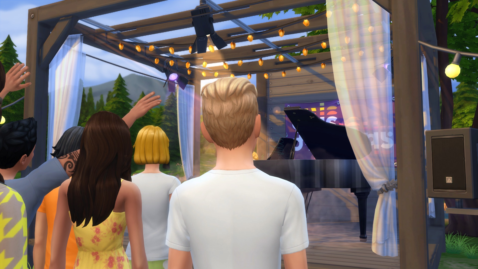 An in-game photo of the Sims Sessions stage, but a Sim blocks the view.