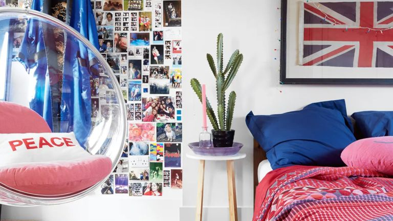 Teenagers bedroom with bubble swing chair