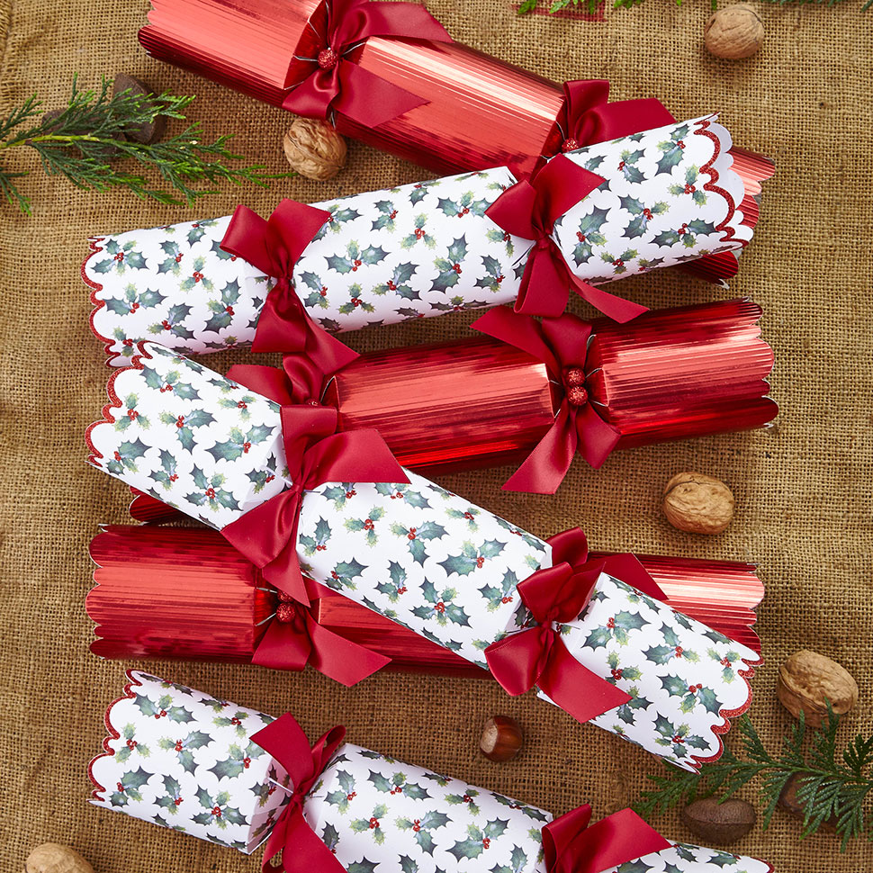 Tesco luxury holly and red foil cracker