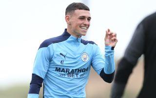 Manchester City midfielder Phil Foden in training