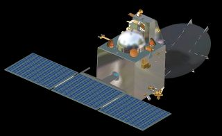 An artist's illustration of India's Mars Orbiter Mission spacecraft, the country's first Mars-bound probe, which is due to launch toward the Red Planet in Fall 2013.