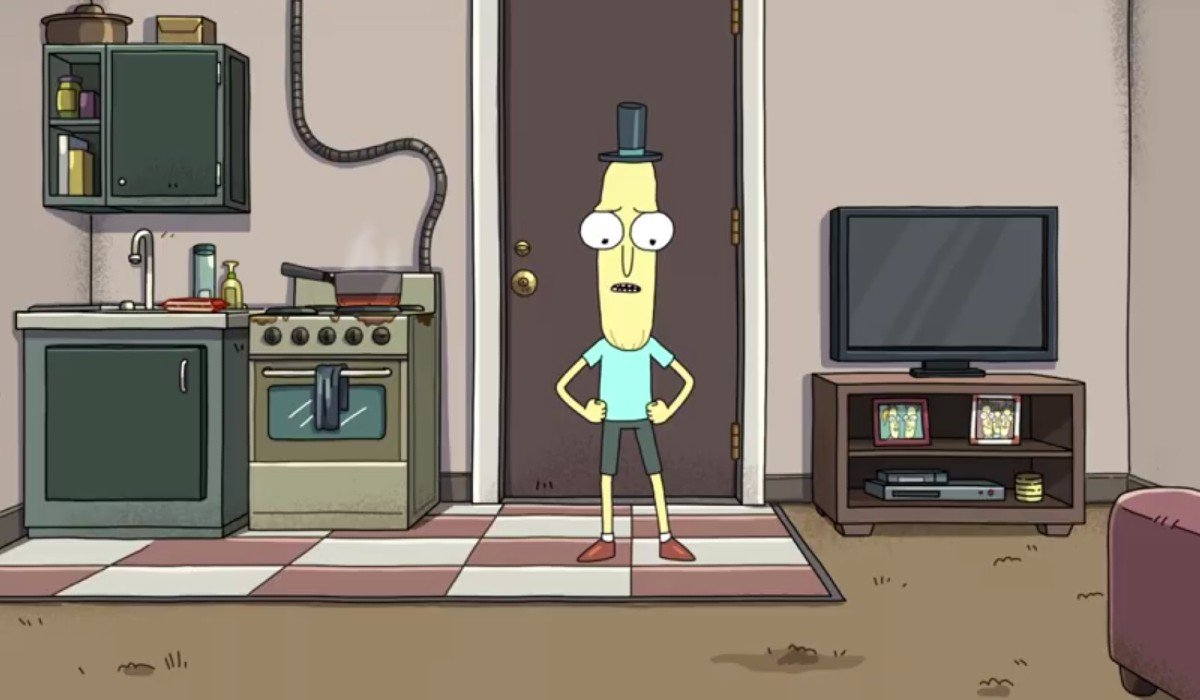 Mr. Poopybutthole in his apartment on Rick and Morty