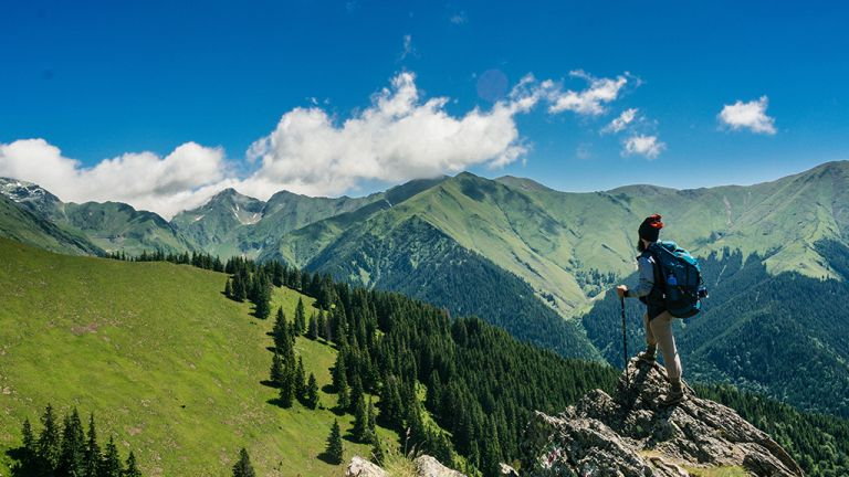 Backpacking essentials: a man stands on a rock overlooking a forest-filled valley