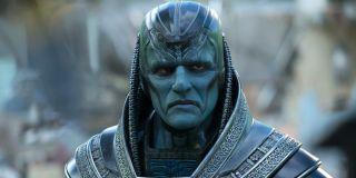 Apocalypse (Oscar Isaac) looks menacing in a scene from 'X-Men: Apocalypse'