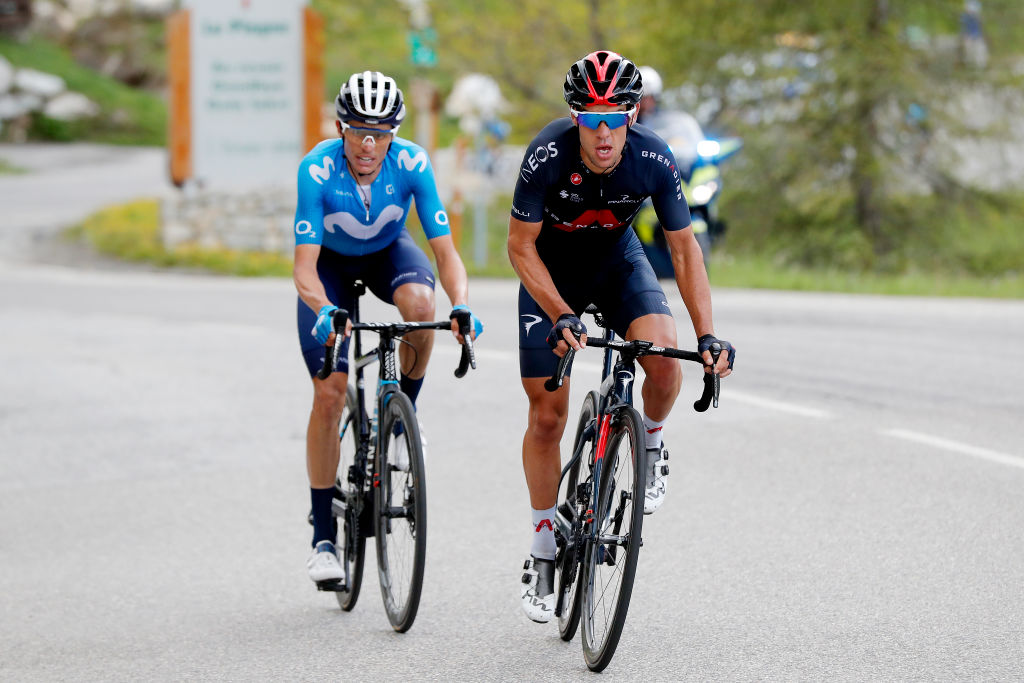 LA PLAGNE FRANCE JUNE 05 Richie Porte of Australia and Team INEOS Grenadiers Enric Mas Nicolau of Spain and Movistar Team in breakaway during the 73rd Critrium du Dauphin 2021 Stage 7 a 1715km stage from SaintMartinLeVinoux to La Plagne 2072m UCIworldtour Dauphin dauphine on June 05 2021 in La Plagne France Photo by Bas CzerwinskiGetty Images