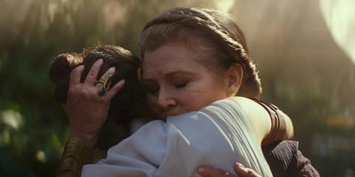 Leia hugging Rey in The Rise of Skywalker